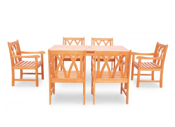 Malibu Eco-friendly 7-piece Outdoor Hardwood Dining Set with Rectangle Table and Arm Chairs - Front