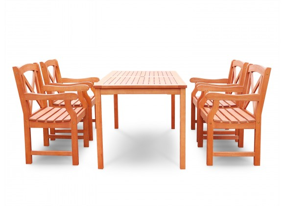 Malibu Eco-friendly 5-piece Outdoor Hardwood Dining Set with Rectangle Table and Arm Chairs - Front