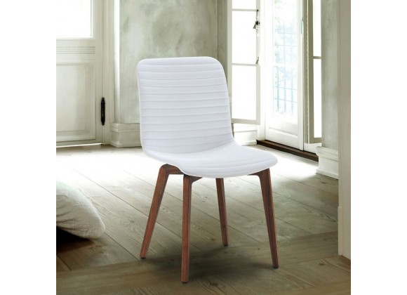 Vela Chair In White PU Upholstery With Walnut Back - Lifestyle