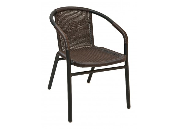 Anodized Aluminum Frame Arm Chair - W-21 - Espresso