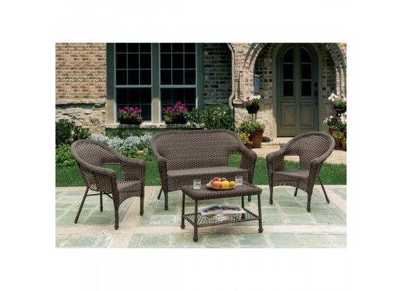 Hummingbird Collection Outdoor Garden Patio Conversational Wicker Furniture 4PC set w/ Table