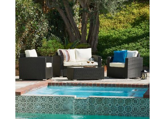 Balluccia Collection Outdoor Garden Wicker Conversational Furniture 4PC set w/ Table
