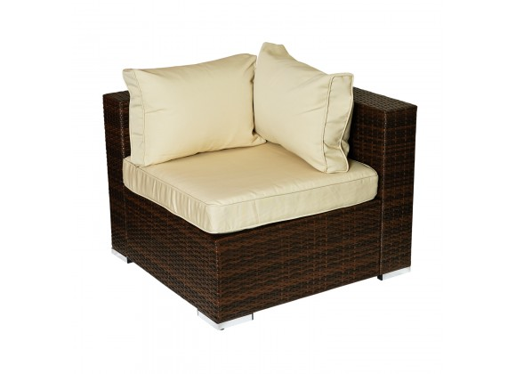 W Unlimited Zoe Collection Outdoor Garden Wicker Conversational Furniture 4PC Sofa set w/ Table