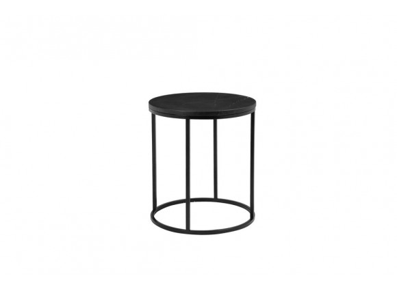 "Onix 21"" Round End Table Black Nero Marquina Marble with Black Powder Coated Steel - Angled View"