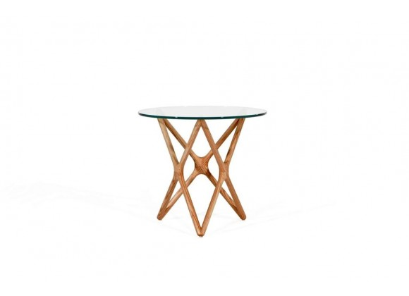 """Quasar 20"""" Low End Table Clear Glass with Ash Stained Light Walnut"""