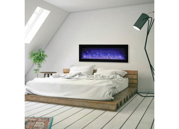 """60"""" Basic Clean-face Electric Built-in With Glass With Black Steel Surround Fireplace - Lifestyle"""