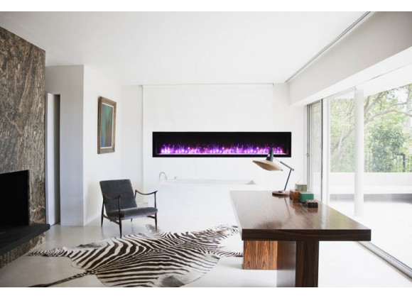 """88"""" Basic Clean-face Electric Built-in With Glass With Black Steel Surround Fireplace - Lifestyle"""