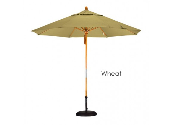 California Umbrella 9' Fiberglass Market Umbrella Pulley Open Marenti Wood - Sunbrella