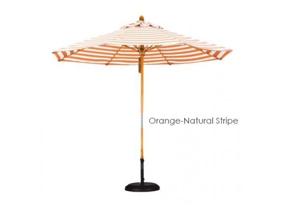 California Umbrella 9' Fiberglass Market Umbrella Pulley Open Marenti Wood - Olefin