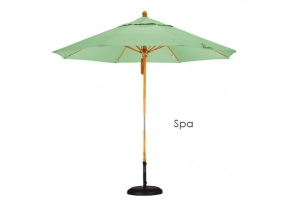 California Umbrella 9' Fiberglass Market Umbrella Pulley Open Marenti Wood - Pacifica
