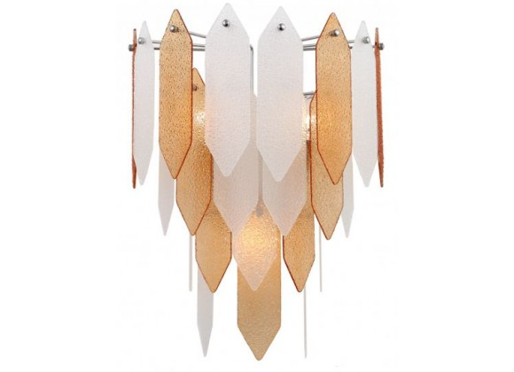 ZEEV Lighting Matrix Wall Sconce -  Chrome With Amber & Frosted Glass