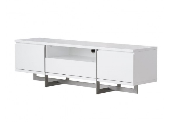 Remi 71x21x17 TV Stand Matte White with Brushed Stainless Steel - Drawers Opened