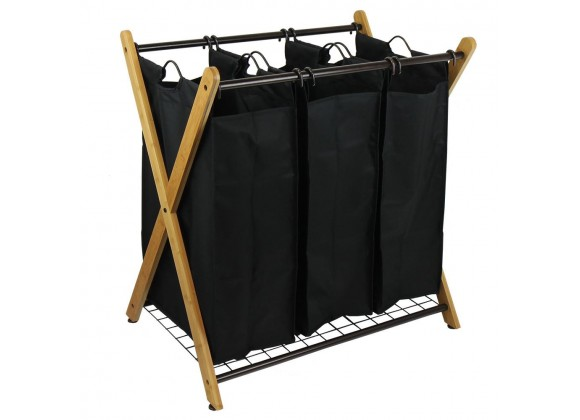 Oceanstar X-Frame Bamboo 3-Bag Laundry Sorter With Bag -