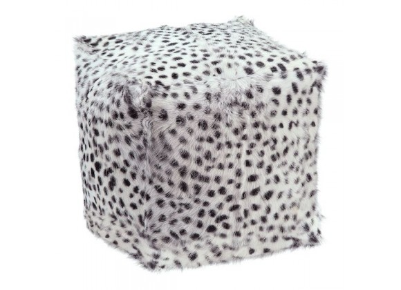Moe's Home Collection Spotted Goat Fur Pouf - Light Grey