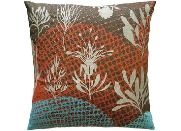 "Koko Company Ecco 20"" x 20"" Embroidered Pillow with Off White Leaves"