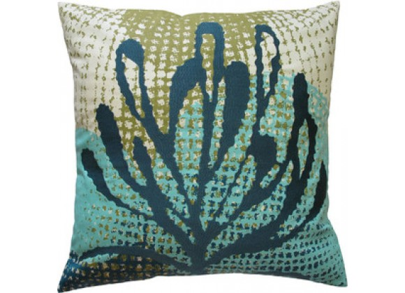 "Koko Company Ecco 20"" x 20"" Embroidered Pillow with Blue Leaf"