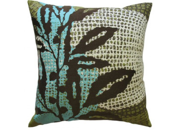 "Koko Company Ecco 18"" x 18"" Embroidered Pillow - Brown Leaf"