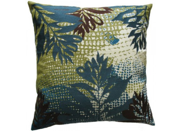 "Koko Company Ecco 18"" x 18"" Embroidered Pillow - Blue / Brown Leaf"