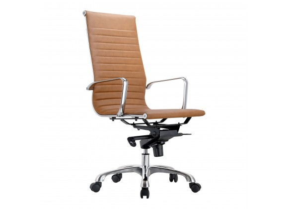 Moe's Home Collection Omega Swivel Office Chair High Back in Tan - Angled View