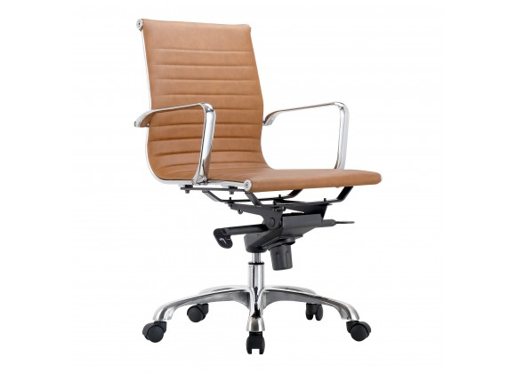 Moe's Home Collection Omega Swivel Office Chair Low Back Tan - Angled View