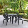 Artemis Resin Square Dining Set with 4 arm chairs Dark Gray