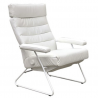 LAFER ADELE RECLINING CHAIR - White Leather with White Basae