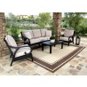 Sunset West Aluminum Monterey Sofa with Club Chairs and Coffee Table - Lifestyle Photo