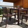 Ares Resin Square Dining Set with 4 chairs Black