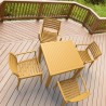 Ares Resin Square Dining Set with 4 chairs Teak Brown