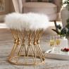Baxton Studio Leonie White Faux Fur Upholstered Ottoman