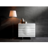 Casabianca MOON White Lacquer With Stainless Steel Tall Dresser/ Nightstand - Lifestyle