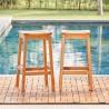 Vifah Olina Honey Eucalyptus Wooden Outdoor Dining Stool (2pcs), Front Angle