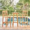 Vifah Kapalua Honey Nautical 3-piece Eucalyptus Wooden Outdoor Bar Set, Front Angle
