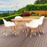 Amazonia Charlotte 5 Piece Teak Round Patio Dining Set - Lifestyle