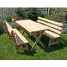 """Cedar 27"""" Wide 10' Cross Legged Picnic Table with (4) 5' Backed Benches"""